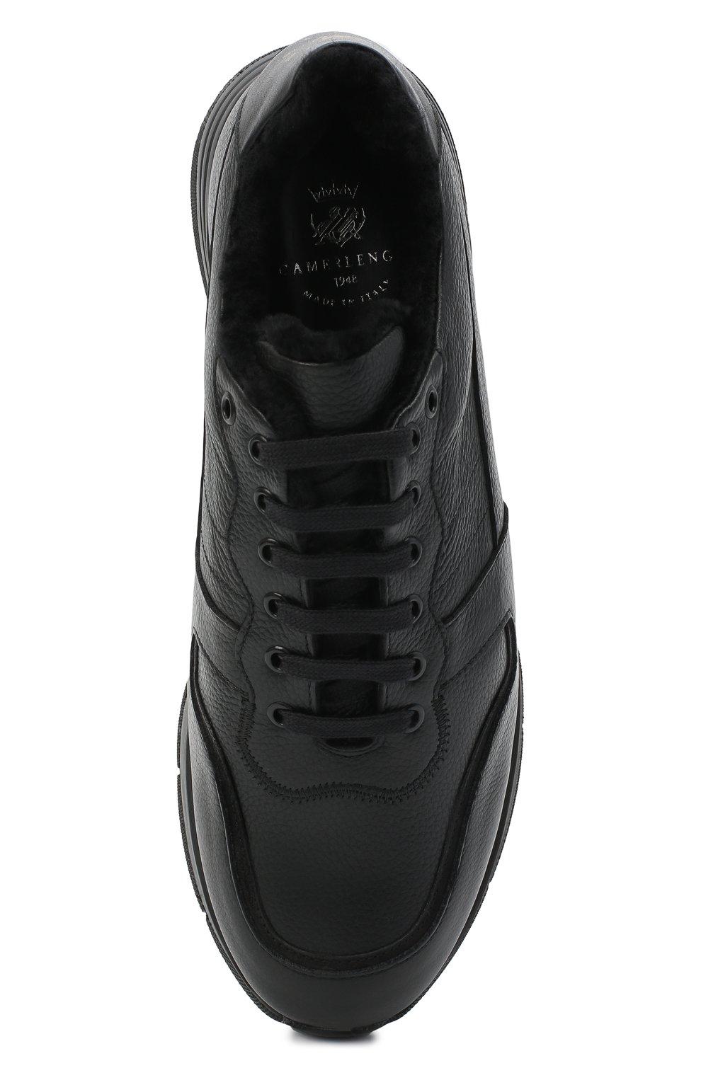 Мужские кожаные кроссовки CAMERLENGO черного цвета, арт. M15593PARIGI579   Фото 5 (Материал утеплителя: Натуральный мех; Стили: Классический; Подошва: Массивная)