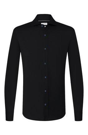 Мужская рубашка из шелка и хлопка BRUNELLO CUCINELLI темно-синего цвета, арт. MTS466686 | Фото 1 (Материал внешний: Хлопок, Шелк; Рукава: Длинные; Длина (для топов): Стандартные; Случай: Повседневный; Мужское Кросс-КТ: Рубашка-одежда; Стили: Кэжуэл; Рубашки М: Slim Fit; Манжеты: На пуговицах; Воротник: Акула; Принт: Однотонные)