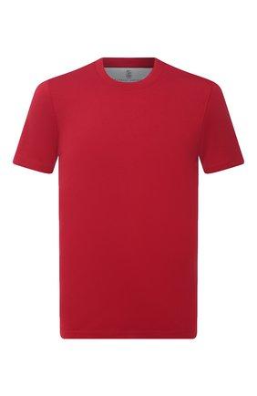 Мужская хлопковая футболка  BRUNELLO CUCINELLI красного цвета, арт. M0T611308 | Фото 1