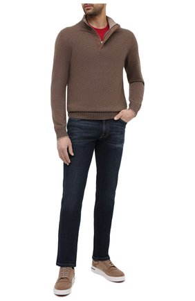 Мужская хлопковая футболка  BRUNELLO CUCINELLI красного цвета, арт. M0T611308 | Фото 2 (Длина (для топов): Стандартные; Материал внешний: Хлопок; Принт: Без принта; Стили: Кэжуэл; Рукава: Короткие; Мужское Кросс-КТ: Футболка-одежда)