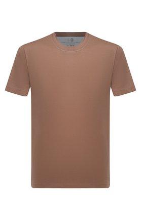 Мужская хлопковая футболка  BRUNELLO CUCINELLI коричневого цвета, арт. M0T611308   Фото 1