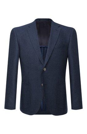 Мужской пиджак из шерсти и шелка BOSS темно-синего цвета, арт. 50444088   Фото 1