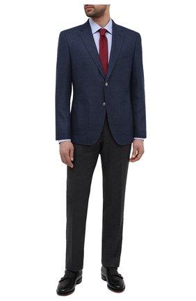 Мужской пиджак из шерсти и шелка BOSS темно-синего цвета, арт. 50444088   Фото 2