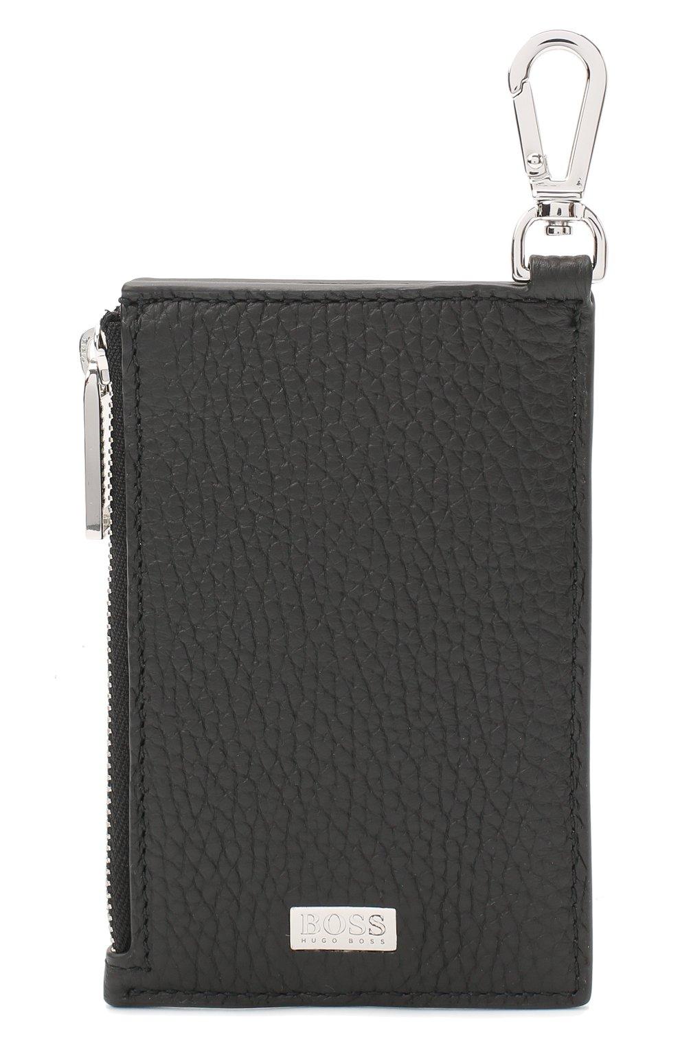 Мужской кожаный кошелек для монет BOSS черного цвета, арт. 50437544   Фото 1