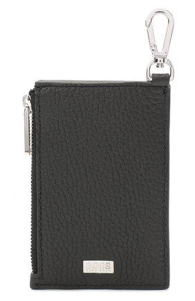 Мужской кожаный кошелек для монет BOSS черного цвета, арт. 50437544 | Фото 1