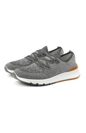 Мужские текстильные кроссовки BRUNELLO CUCINELLI серого цвета, арт. MZUKIS0250 | Фото 1