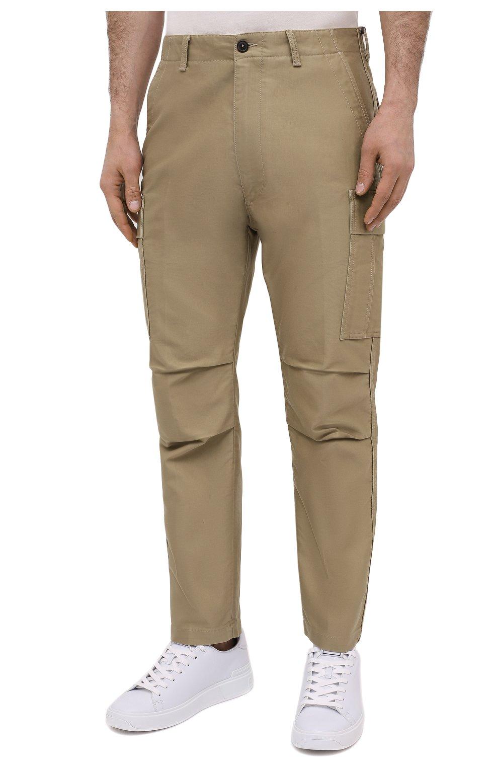Мужские хлопковые брюки-карго TOM FORD бежевого цвета, арт. BW141/TFP223   Фото 3 (Силуэт М (брюки): Карго; Длина (брюки, джинсы): Стандартные; Случай: Повседневный; Материал внешний: Хлопок; Стили: Кэжуэл)