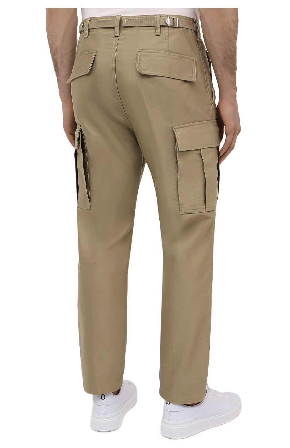 Мужские хлопковые брюки-карго TOM FORD бежевого цвета, арт. BW141/TFP223   Фото 4 (Силуэт М (брюки): Карго; Длина (брюки, джинсы): Стандартные; Случай: Повседневный; Материал внешний: Хлопок; Стили: Кэжуэл)