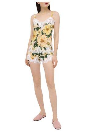 Женские шелковые шорты DOLCE & GABBANA желтого цвета, арт. 03A02T/FSA0E | Фото 2