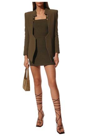 Женское платье из вискозы BALMAIN хаки цвета, арт. VF16152/K211 | Фото 2