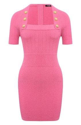Женское платье из вискозы BALMAIN розового цвета, арт. VF16152/K211   Фото 1 (Материал внешний: Вискоза; Длина Ж (юбки, платья, шорты): Мини; Рукава: Короткие; Женское Кросс-КТ: Платье-одежда; Стили: Гламурный; Случай: Вечерний)