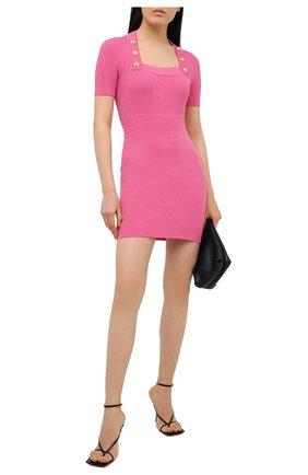 Женское платье из вискозы BALMAIN розового цвета, арт. VF16152/K211   Фото 2 (Материал внешний: Вискоза; Длина Ж (юбки, платья, шорты): Мини; Рукава: Короткие; Женское Кросс-КТ: Платье-одежда; Стили: Гламурный; Случай: Вечерний)