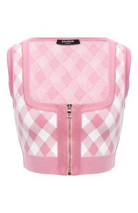 Женская топ из вискозы BALMAIN розового цвета, арт. VF10021/K213   Фото 1