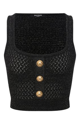 Женский топ из вискозы BALMAIN черного цвета, арт. VF10007/K212 | Фото 1