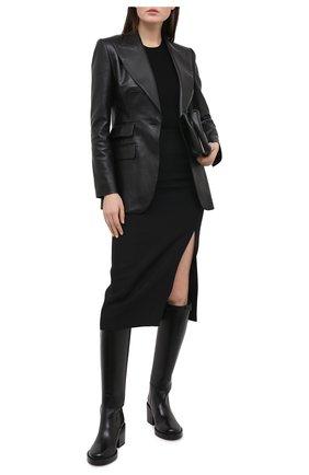 Женский кожаный жакет DOLCE & GABBANA черного цвета, арт. F29HUL/HULJ8 | Фото 2