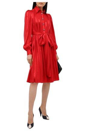 Женское шелковое платье DOLCE & GABBANA красного цвета, арт. F6H2RT/FJ1HS | Фото 2