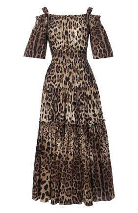 Женское хлопковое платье DOLCE & GABBANA коричневого цвета, арт. F68E1T/HS5E3 | Фото 1