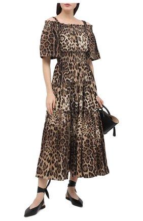 Женское хлопковое платье DOLCE & GABBANA коричневого цвета, арт. F68E1T/HS5E3 | Фото 2
