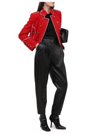Женские кожаные брюки DOLCE & GABBANA черного цвета, арт. FTBYEL/HULJ7 | Фото 2