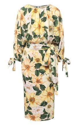 Женское шелковое платье DOLCE & GABBANA желтого цвета, арт. F6J2XT/FSA0E | Фото 1