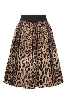 Женская хлопковая юбка DOLCE & GABBANA коричневого цвета, арт. F4B00T/HS5E3 | Фото 1