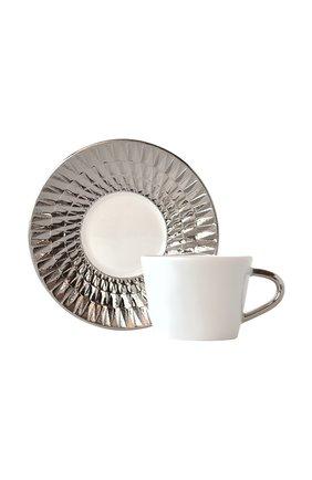 Кофейная чашка с блюдцем Twist Platine | Фото №1