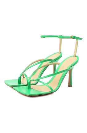 Женские кожаные босоножки the stretch BOTTEGA VENETA зеленого цвета, арт. 608835/VBSF0 | Фото 1