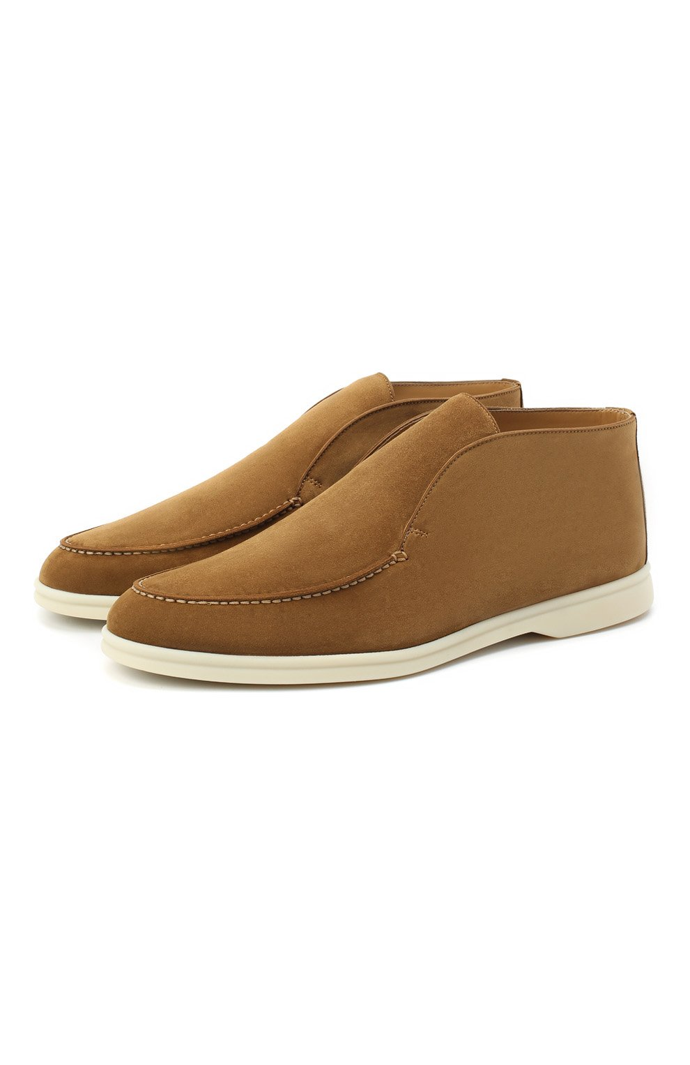 Мужские замшевые ботинки open walk LORO PIANA светло-коричневого цвета, арт. FAB4368 | Фото 1