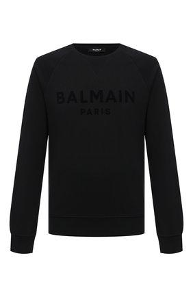 Мужской хлопковый свитшот BALMAIN черного цвета, арт. VH1JQ005/B042 | Фото 1