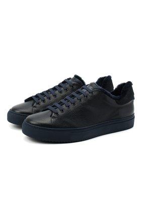 Мужские кожаные кеды CAMERLENGO темно-синего цвета, арт. M15659CAIBL713 | Фото 1