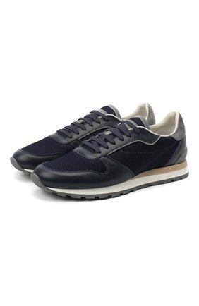 Мужские комбинированные кроссовки BRUNELLO CUCINELLI темно-синего цвета, арт. MZUJBRA270 | Фото 1