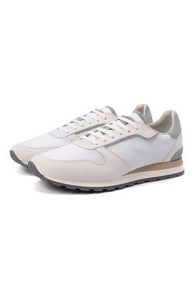 Мужские комбинированные кроссовки BRUNELLO CUCINELLI белого цвета, арт. MZUJBRA270 | Фото 1
