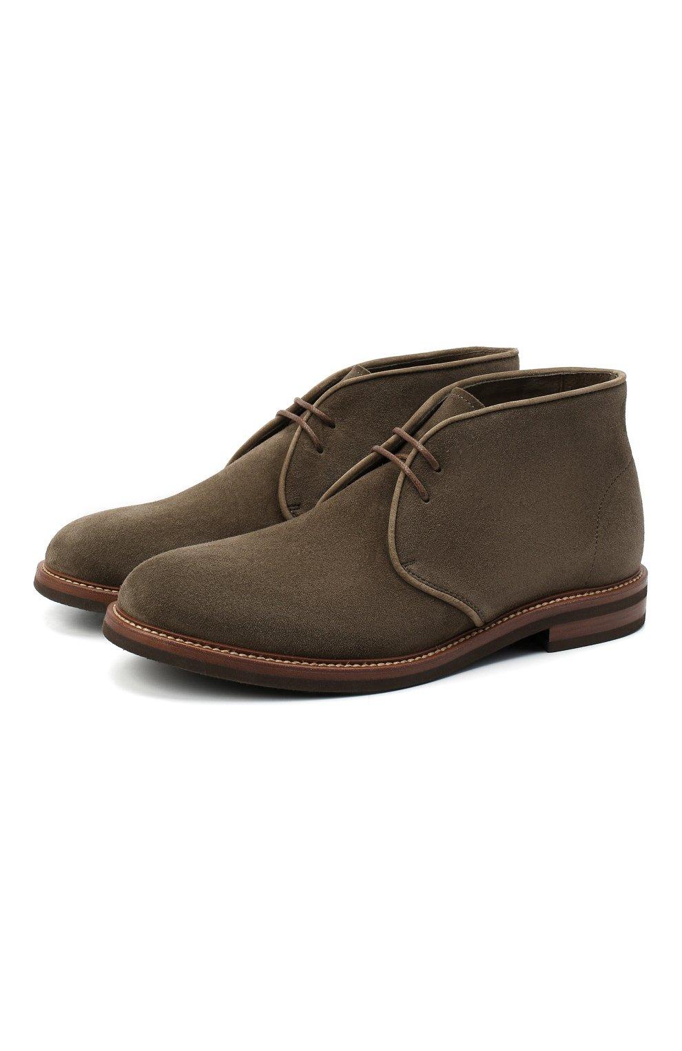 Мужские замшевые ботинки BRUNELLO CUCINELLI хаки цвета, арт. MZUKUDK192 | Фото 1