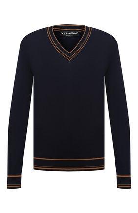 Мужской шерстяной пуловер DOLCE & GABBANA темно-синего цвета, арт. GXB33T/JAVWZ | Фото 1