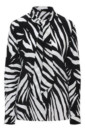 Женская шелковая блузка BOSS черно-белого цвета, арт. 50445582 | Фото 1