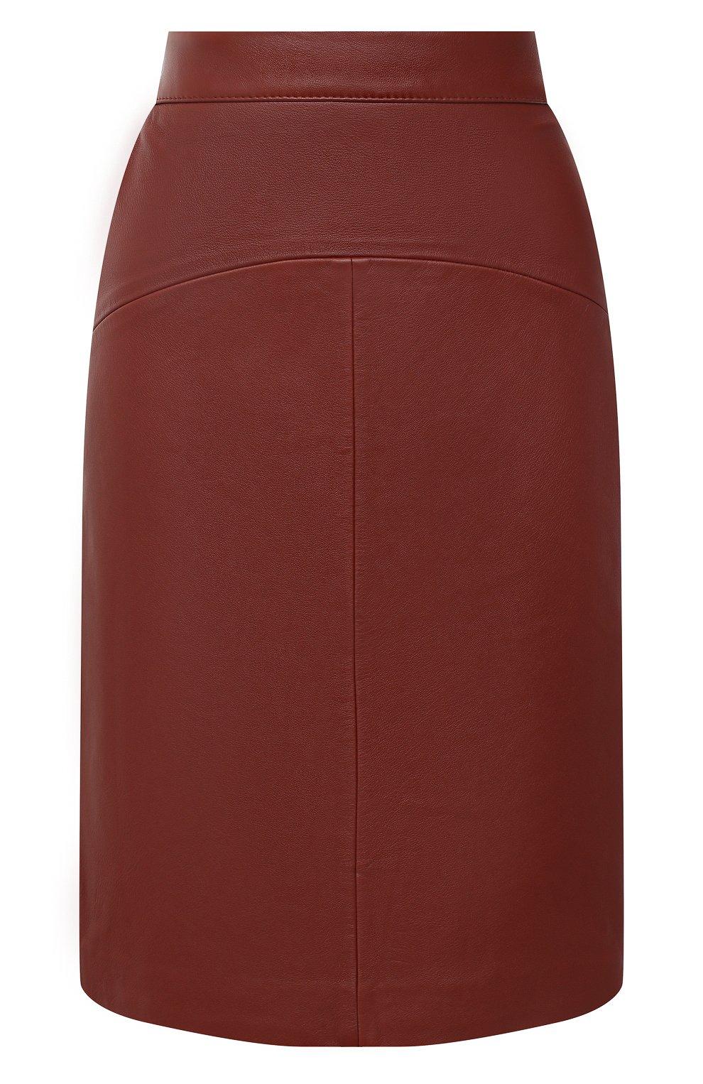 Женская кожаная юбка BOSS коричневого цвета, арт. 50446151   Фото 1