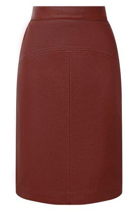 Женская кожаная юбка BOSS коричневого цвета, арт. 50446151 | Фото 1