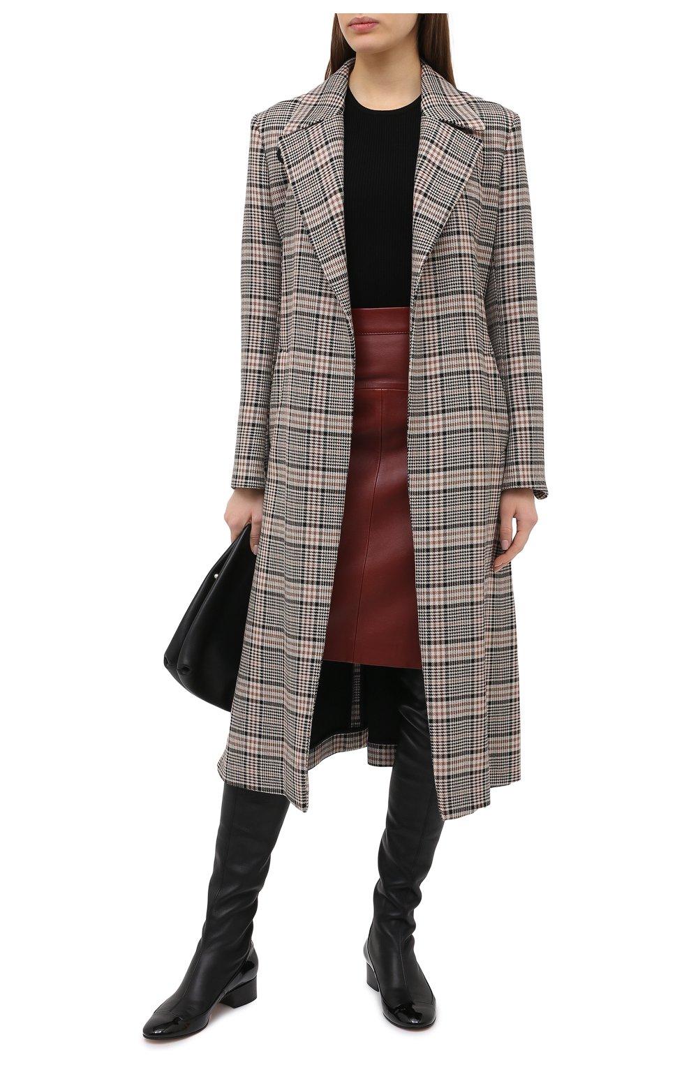 Женская кожаная юбка BOSS коричневого цвета, арт. 50446151   Фото 2