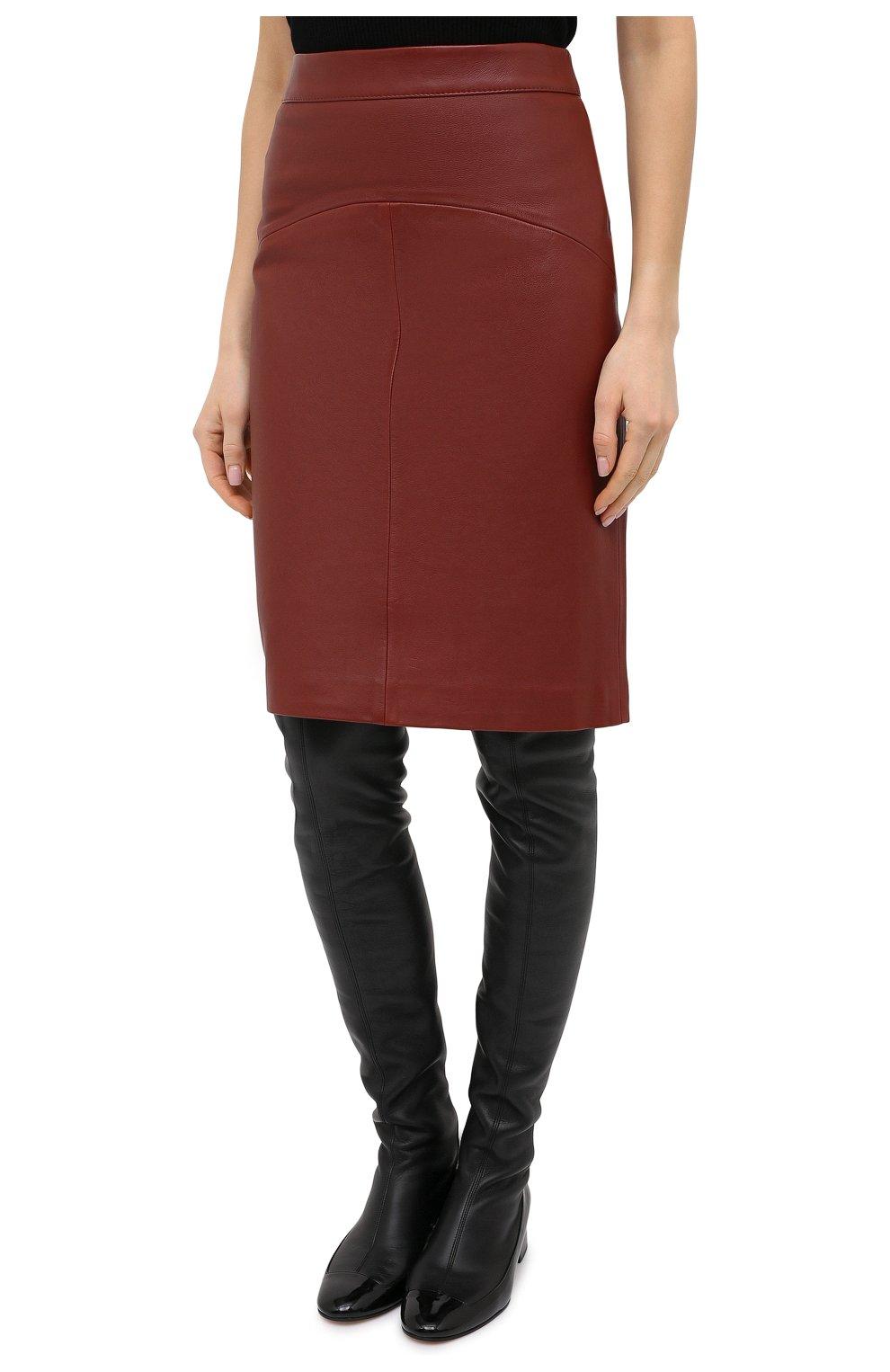Женская кожаная юбка BOSS коричневого цвета, арт. 50446151   Фото 3