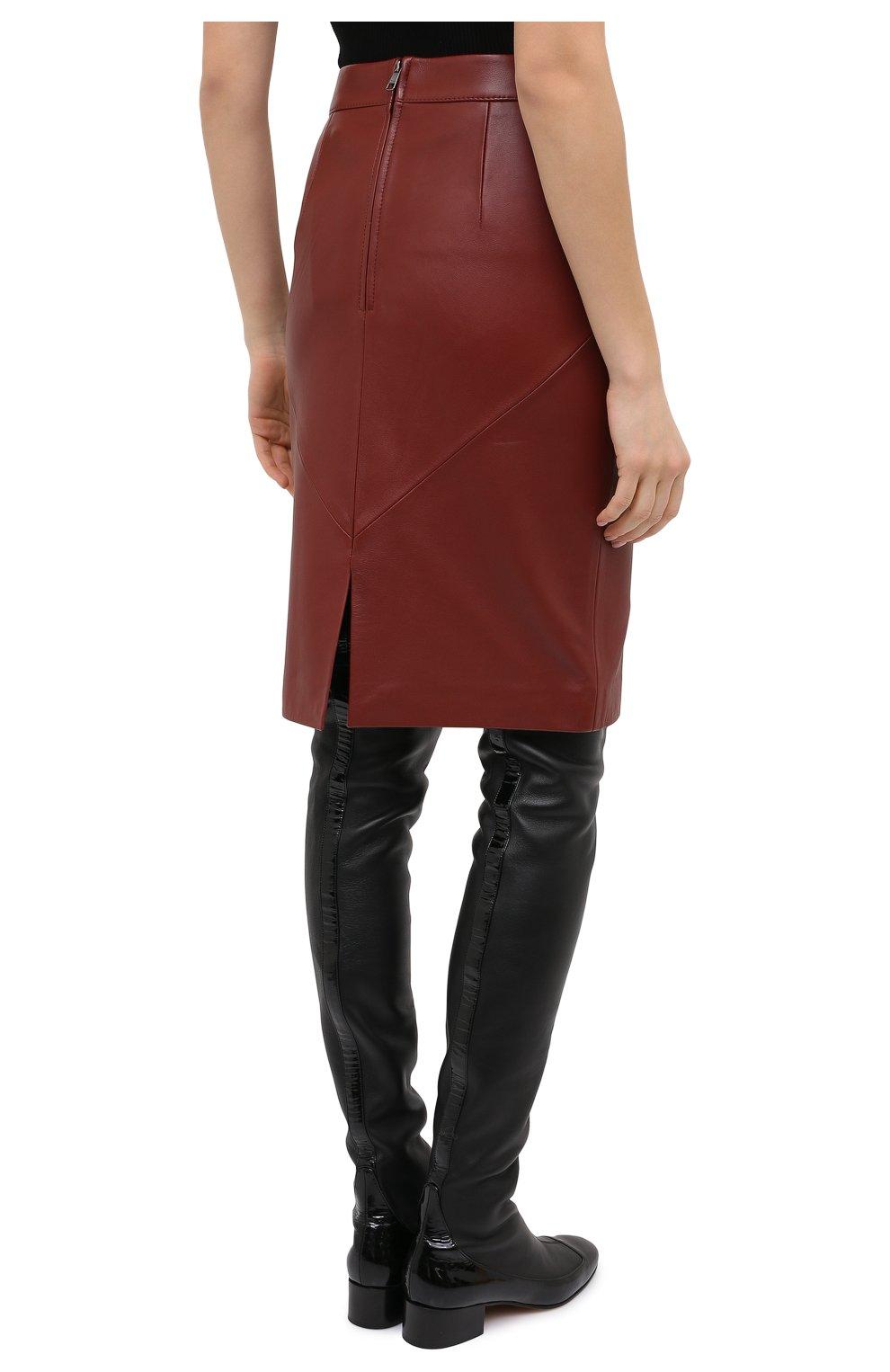 Женская кожаная юбка BOSS коричневого цвета, арт. 50446151   Фото 4