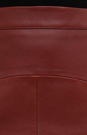 Женская кожаная юбка BOSS коричневого цвета, арт. 50446151   Фото 5