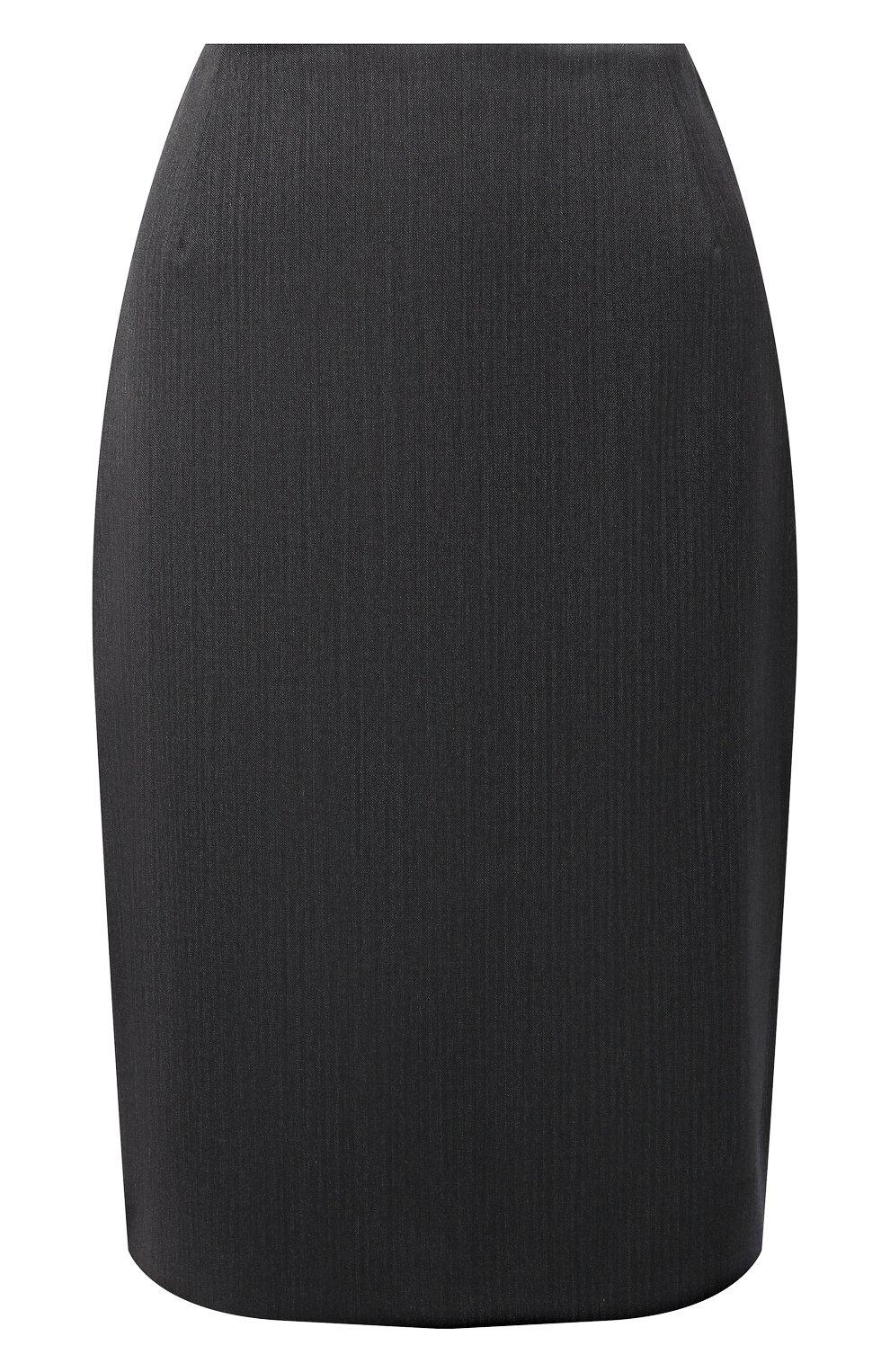 Женская шерстяная юбка BOSS серого цвета, арт. 50446600 | Фото 1