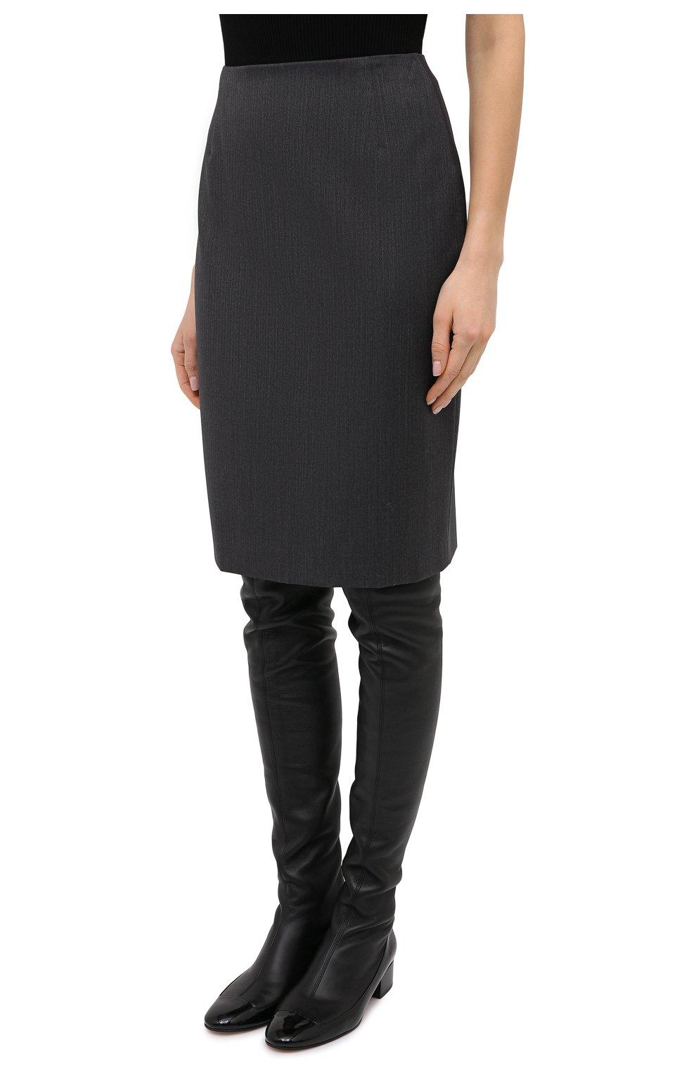 Женская шерстяная юбка BOSS серого цвета, арт. 50446600 | Фото 3