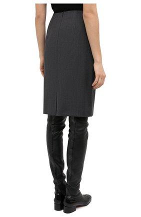 Женская шерстяная юбка BOSS серого цвета, арт. 50446600 | Фото 4