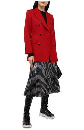 Женская юбка с пайетками BOSS черно-белого цвета, арт. 50444254 | Фото 2