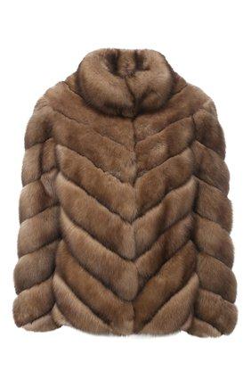 Женская шуба из меха соболя KUSSENKOVV светло-коричневого цвета, арт. 763600005245   Фото 1
