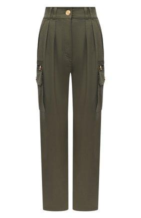 Женские хлопковые брюки BALMAIN хаки цвета, арт. VF15743/D086 | Фото 1