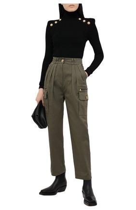 Женские хлопковые брюки BALMAIN хаки цвета, арт. VF15743/D086 | Фото 2