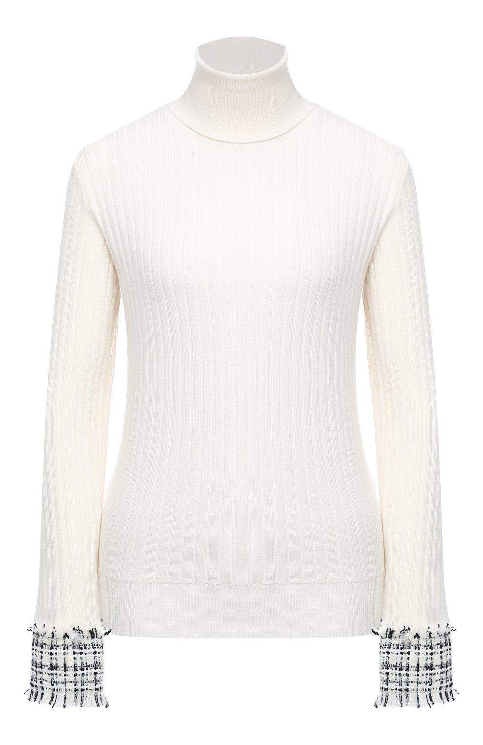 Женская шерстяная водолазка DOLCE & GABBANA белого цвета, арт. FX839T/JAM2X | Фото 1 (Женское Кросс-КТ: Водолазка-одежда; Материал внешний: Шерсть; Рукава: Длинные; Длина (для топов): Стандартные; Стили: Кэжуэл)