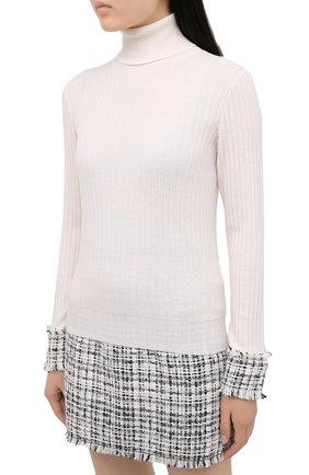 Женская шерстяная водолазка DOLCE & GABBANA белого цвета, арт. FX839T/JAM2X | Фото 3 (Женское Кросс-КТ: Водолазка-одежда; Материал внешний: Шерсть; Рукава: Длинные; Длина (для топов): Стандартные; Стили: Кэжуэл)